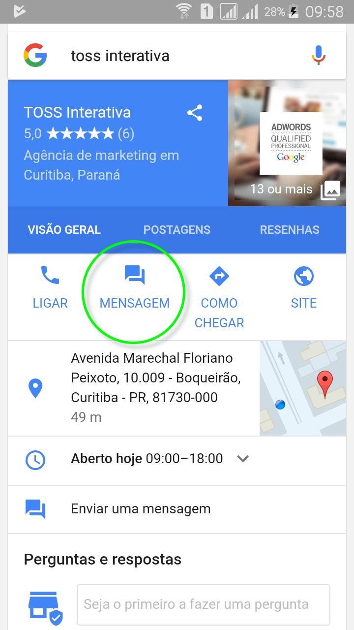 Google Meu Negocio - Chat Online