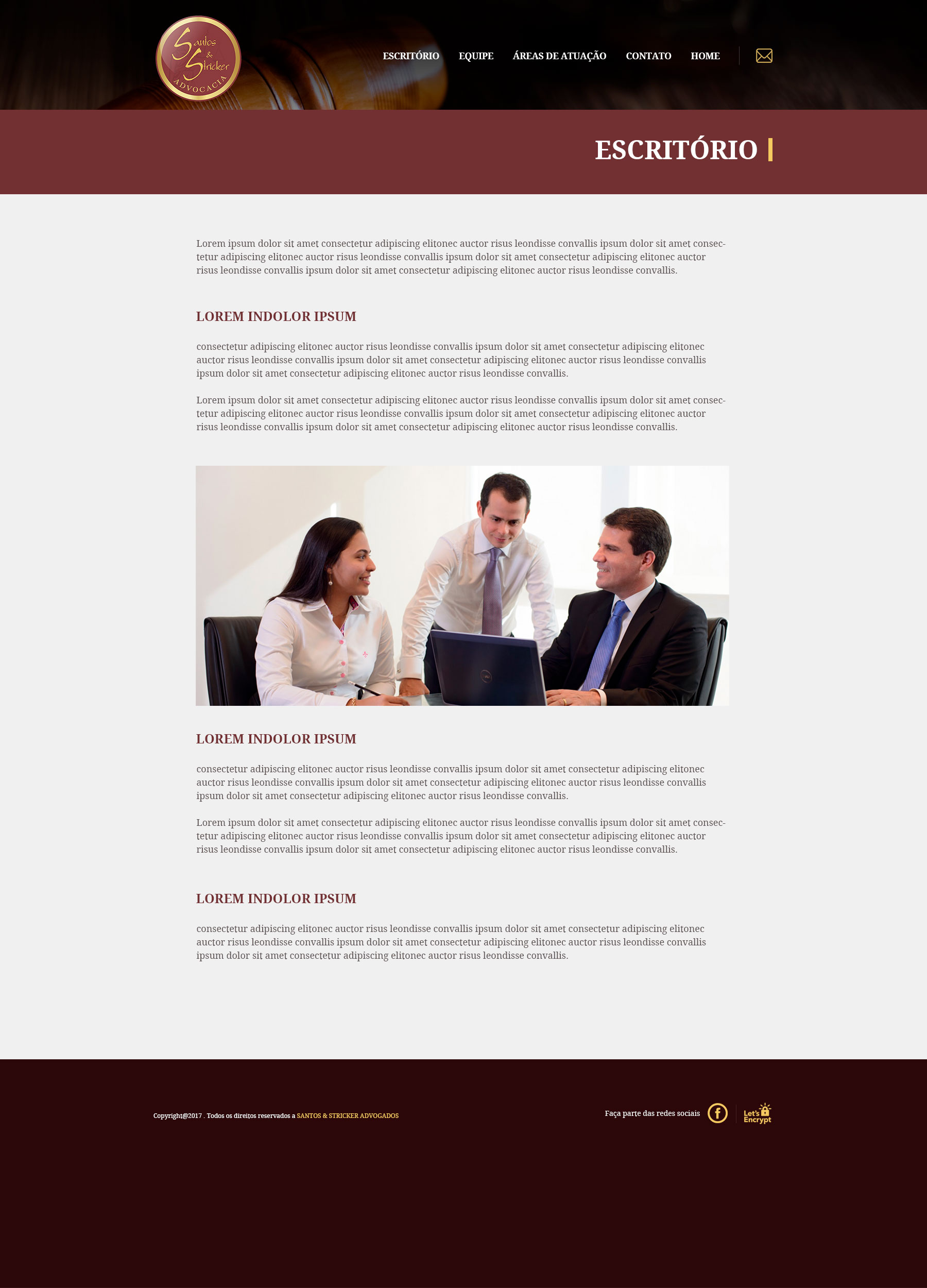Santos e Stricker Advocacia - Site Internas